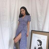 2018 Real Limited Zanzea Dress Women S Summer Dress French Retro Holiday V Neck Print One