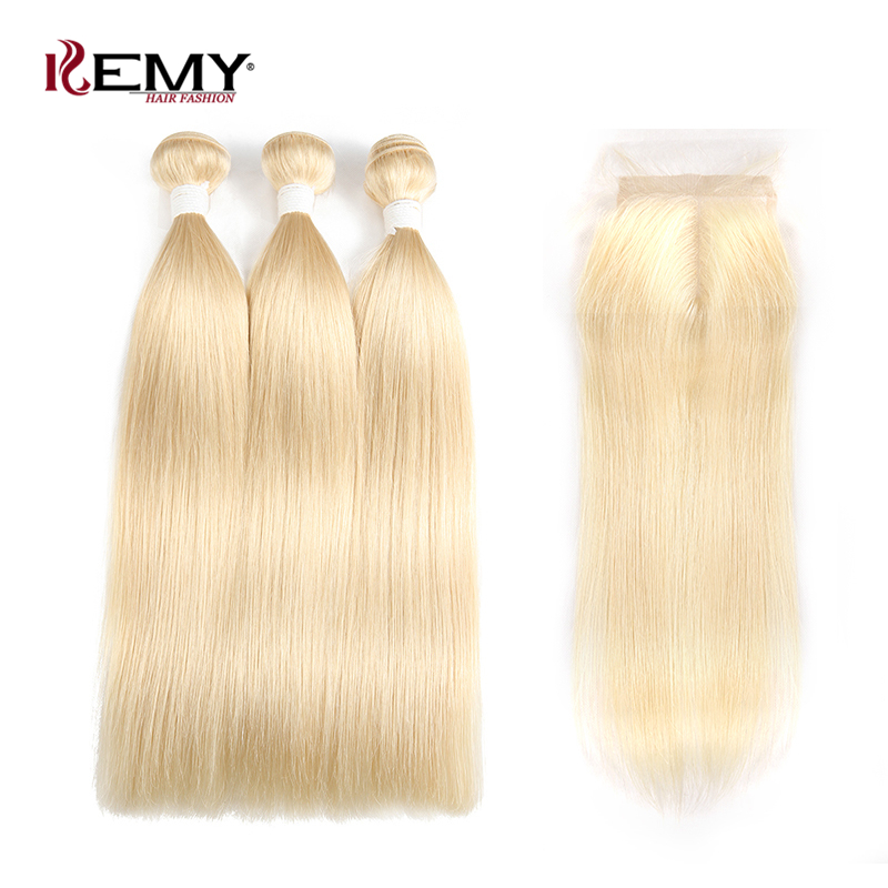 613 Honey Blonde Brazilian Straight Human Hair Bundles With Closure KEMY HAIR 3/4 PCS Hair Weave With Closure Remy Hair Bundles(China)