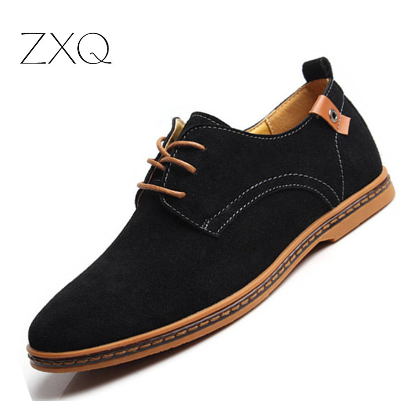 Plus Size 38 48 Classical New Fashion font b Men b font Cowhide Leather Low Top