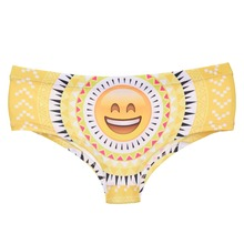 LEIMOLIS Laugh emoji aztec funny print sexy hot panties female kawaii Lovely underwear push up briefs women lingerie thongs