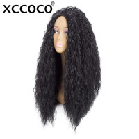 XCCOCO Synthetic Fiber Long Curly Corn   Wigs   rolls Black Color   Cosplay     Wig   100% High Temperature Fiber Hair
