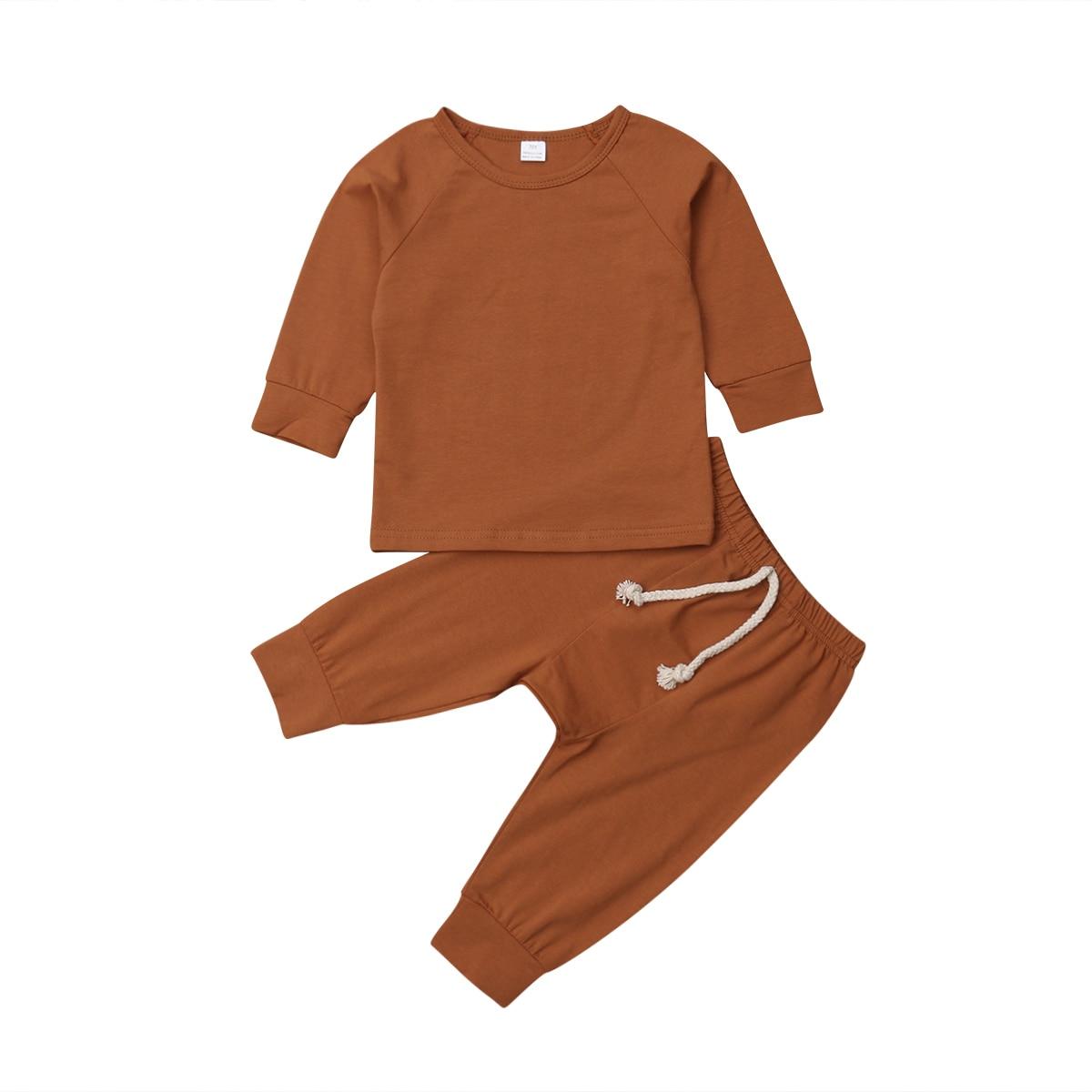 Хлопковый пижамный комплект с длинными рукавами для новорожденных мальчиков и девочек от 0 до 24 месяцев, одежда для сна, одежда для сна, топы и штаны, комплекты одежды для малышей из 2 предметов - Цвет: Цвет: желтый
