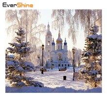 Evershine DIY алмаз Вышивка снег пейзаж полный квадрат алмазная живопись вышивка крестом Наборы церкви мозаика продажи Домашний Декор