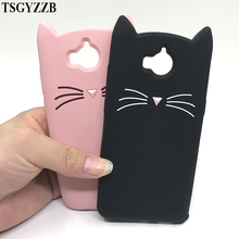 3D Cute Case For Huawei Y6 2017 Silicon Beard Cat Cases Y5 II P10 P9 P8 Lite Cover Cartoon Gel Coque Shell