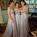 Sliver Grey Bridesmaid Dresses Long Floor Length Vestidos De Festa Beads Wedding Guest Dress Robe Demoiselle D'honneur