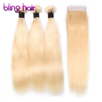 Clover Leaf 613 Blonde Peruvian Straight Hair 3 Bundles With 4x4 Lace Closure Remy Human Hair For Salon Hair Extensions
