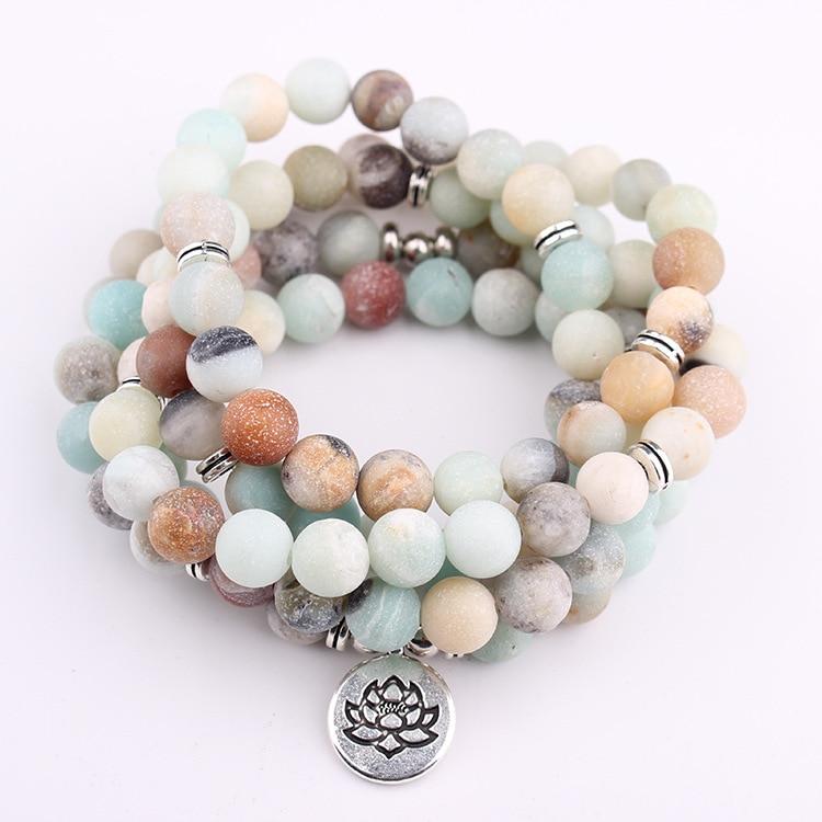 DIEZI 3 Estilo lotus Árbol de la vida encanto OM pulsera amazonita 108 Mala Buda de piedra Natural Yoga pulsera para mujeres Hombres