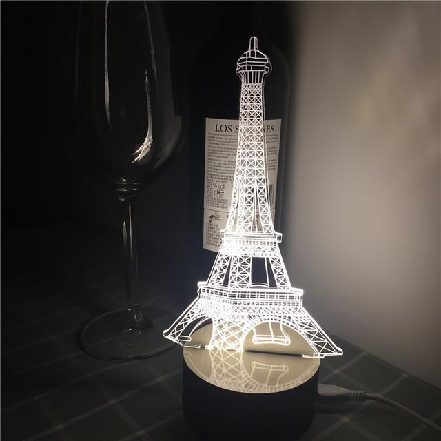 7 mudando a cor Night Lamp luz torre eiffel decoração de mesa lâmpada de leitura Criativa visual 3D IY801134 interruptor de toque como o presente