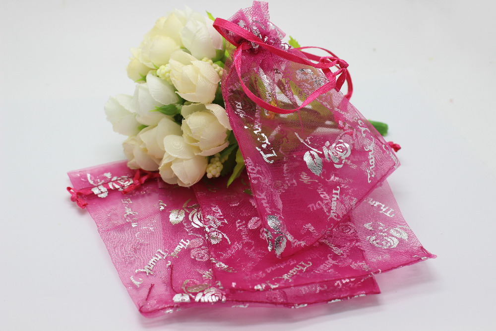 100pcslot Silver Roses Printing Hot Pink Colour Organza Bags