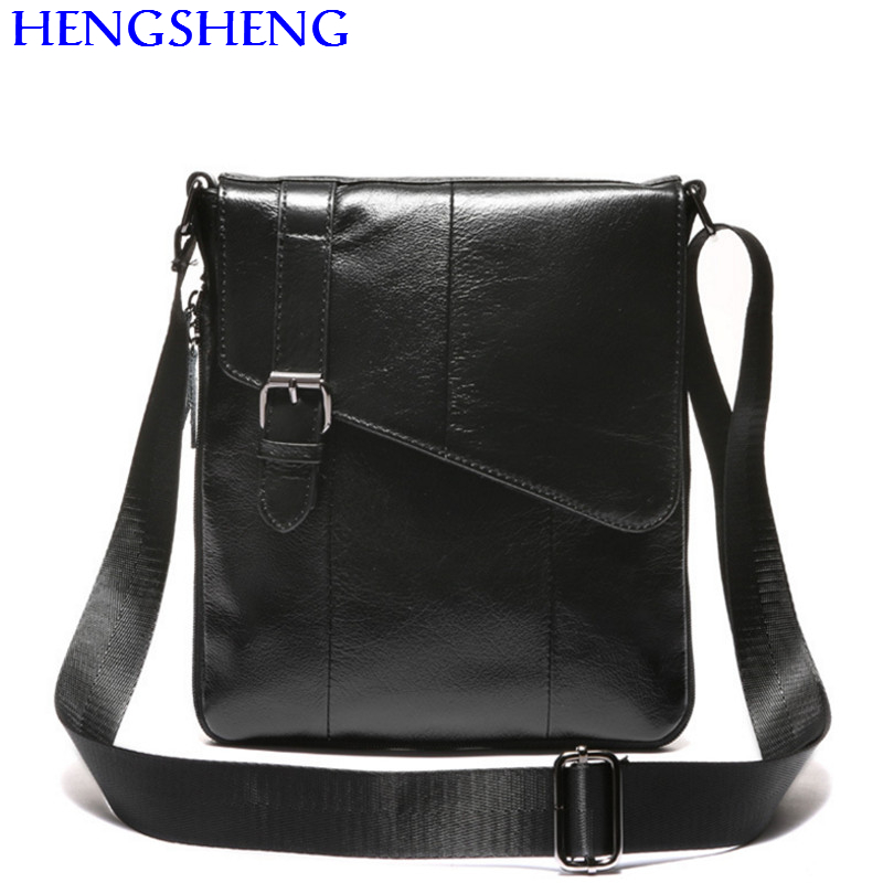 Hengsheng Promotion genuine font b leather b font men messenger bags with cow font b leather