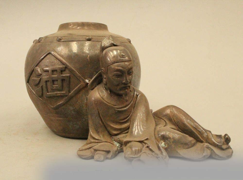 China Chinese Folk Pure Bronze Drunkard wine jar poet Li Po Statue|statue nepal|jar jar|statue head - title=