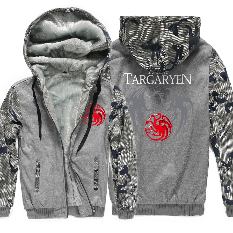 Game of Thrones Targaryen Fire & Blood Fashion Men's Sweatshirts Hooded 2019 Winter Warm Men Thicken Hoodies Casual Coat Jacket-in Hoodies & Sweatshirts from Men's Clothing    3