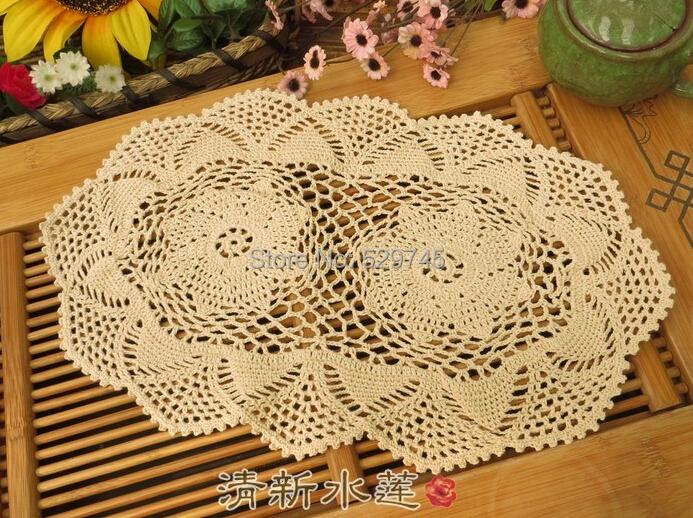 Aliexpress.com : Buy Handmade Crochet Flowers Small Oval Tablecloths Cotton  Placemats Coasters Decorative Cover Cloth Mats 6PCS From Reliable Oval ...