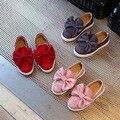 2017 primavera new big bowknot painel de veludo shoes grandes conjuntos de pés de lazer princesa shoes meninas criança couro shoes
