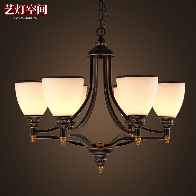 LED Nordic Fixtures American country style hanging lights Restaurant Lamps living room Lighting Bar Cafe Chandeliers chandeliers lights led lamps e27 bulbs iron ceiling fixtures glass cover american european style for living room bedroom 1031