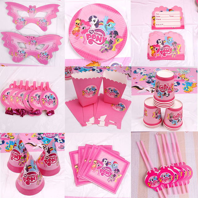 Optioneel Little Pony Decoratie Kids Party Gunsten Platen Vork Kinderen Kids Verjaardagsfeestje Levert Wegwerp Servies Sets