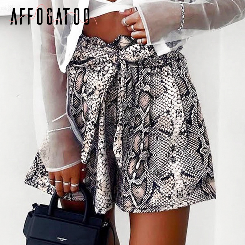 Affogatoo Sexy casual snake print   shorts   women Sash high elastic waist summer   short   Vintage streetwear fashion   short   bottom 2019