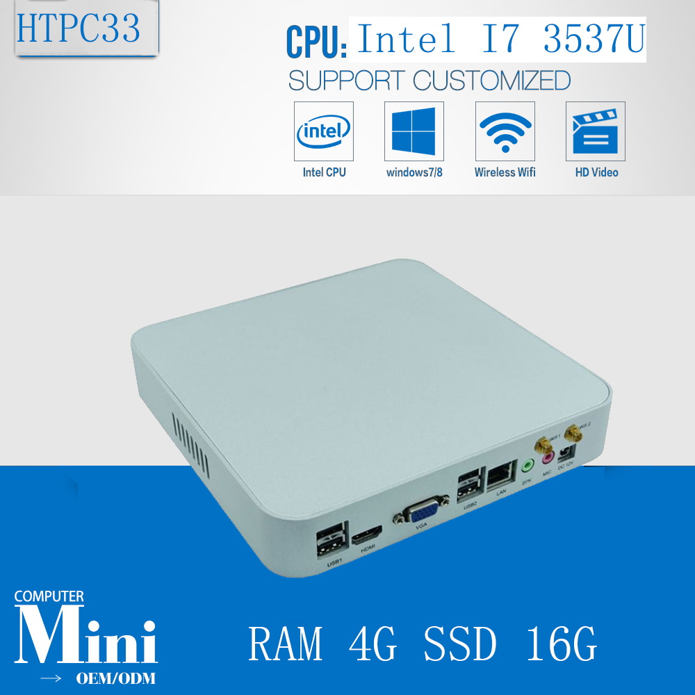 Intel Box Super Fast Mini PC Game PC CPU Core I7 3537U Max 3.1GHz 4GB Ram 16GB SSD  300M Wifi Media Center HDMI 1080P