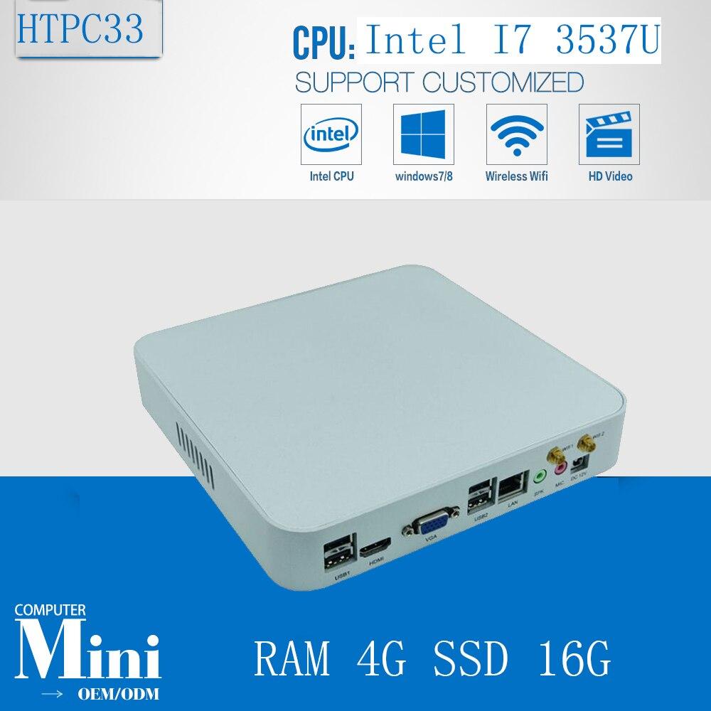 Intel Box Super rapide Mini PC jeu PC CPU Core i7 3537U Max 3.1 GHz 4 GB Ram 16 GB SSD 300 M Wifi Media Center HDMI 1080 P