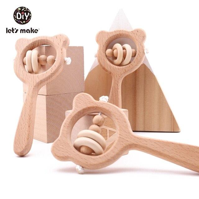 Lets make – Anneau de dentition en bois de hêtre pour bébé, hochet en forme dours, jouet pour enfant en bas âge, accessoire pour poussette, jouet éducatif montessori