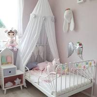Hanging Kids Baby Bedding Crib Nettin Bed Cotton Hairball Mosquito Net Bedcover Curtain For Baby Kids Crib Netting