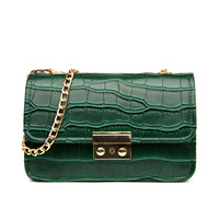 Fashion Women Messenger Bag Shoulder Crossbody Bag Ladies Embossing Casual Small Bag Crocodile Pattern Lock Chain