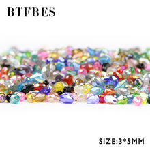 BTFBES Water Droplet Pear Shaped Austrian Crystals Loose Beads 3*5mm 100pcs Glass bead For Bracelet Necklace Jewelry Making DIY недорого