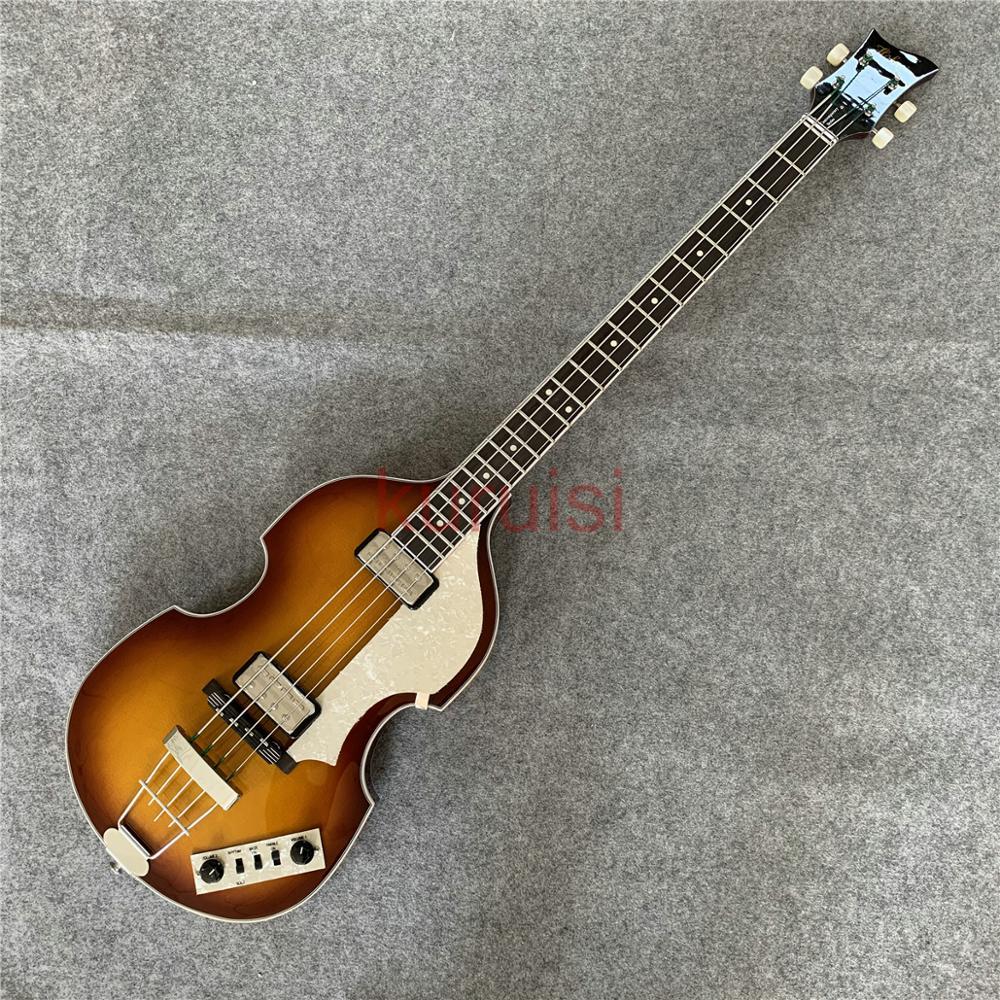 John Entwistle style sunset yellow tiger pattern BB2 bass guitar, hollow Bass guitar, violin BASS.