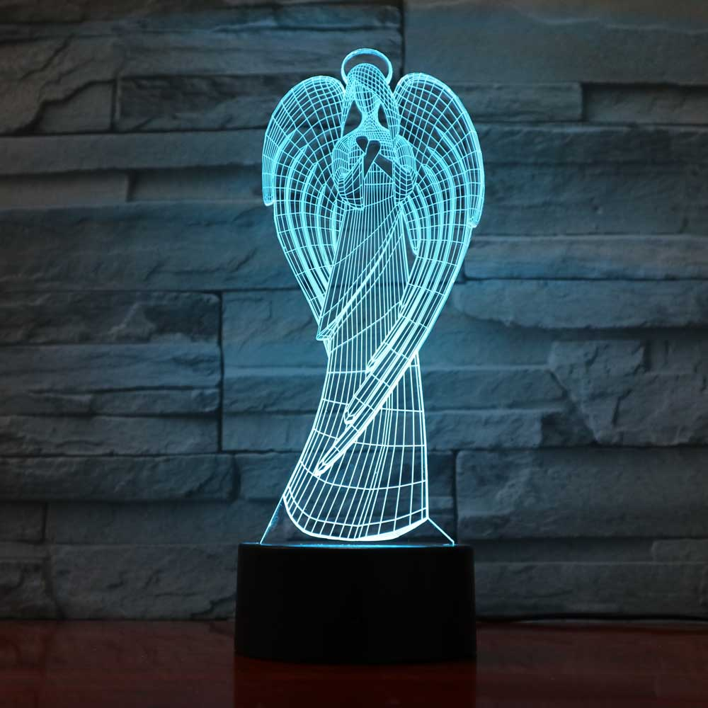Creative 3D Colorful Wings Girl Shape NightLight Led Angel Table Lamp Home Office Atmosphere Decor Virgin Mary Usb Light Fixture