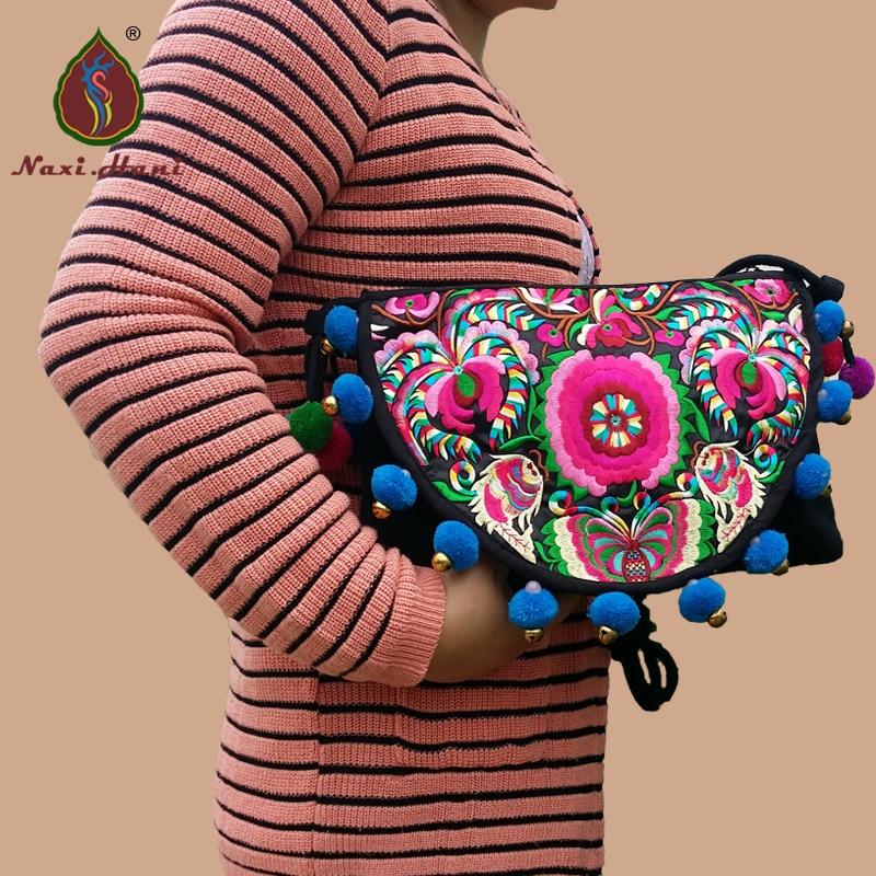 원래 수 놓은 여자 핸드백 Naxi.Hani 브랜드 캔버스 핸드 메이드 pompoms 숄더 가방 빈티지 여행 crossbody 가방