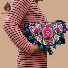 Naxi.Hani Original embroidered women handbag brand canvas handmade pompoms shoulder bag vintage travel crossbody bags