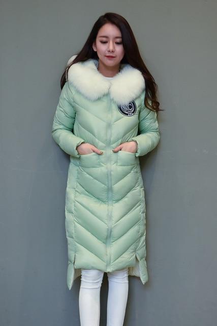 2018 White Real Fox Fur Womens Winter Jackets and Coats X-Long 90% White Duck Down Plus XXXXL Warm Coat winterjas dames XC020