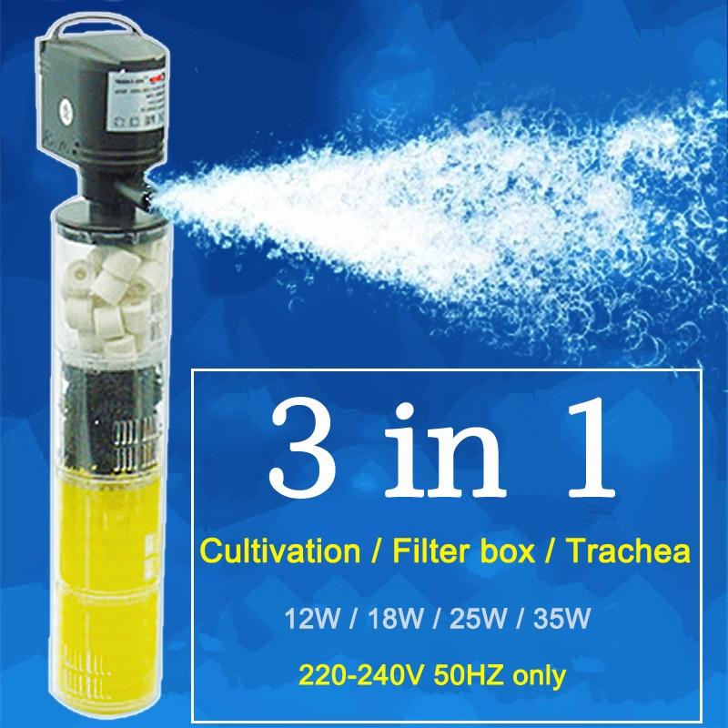 3 in 1 Filtro Acquario Serbatoio di Pesce Filtro Per acquario Pompa di Aria di Aria di Ossigeno Aumento Acquario Filtro Interno Acquario Pompa FA0013