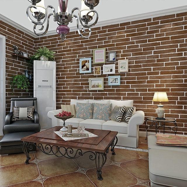 Vintage Red Brick Wallpaper Mural Pvc Waterproof Embossed Modern Roll Living Room Study Bedroom Tv