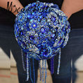 2017 Brooch Royal Blue Bridal Wedding Bouquet With Diamonds Crystal Flower Bouquet De Mariage Handmade Bride Holding Flowers