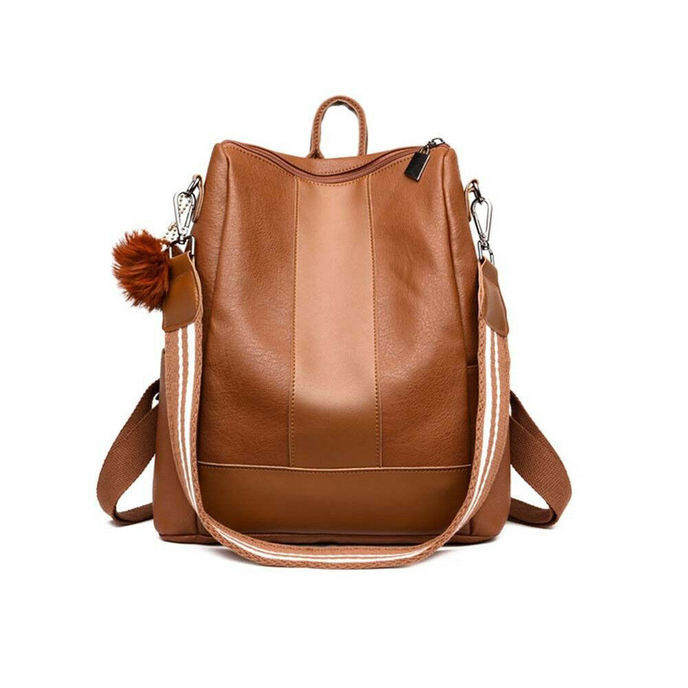 Fashion Anti-theft Women's Backpack PU Leather Solid Color British Wind School Bag Casual Shoulder Bag