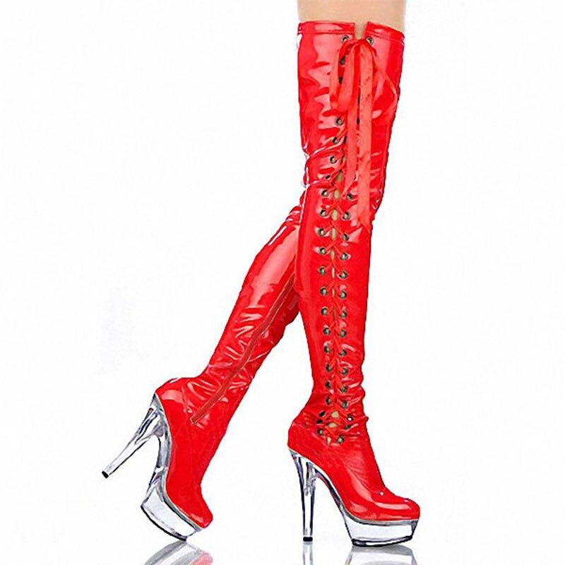 Pole A054 Over Taille the Laijianjinxia Bottes Commerce Rouge Le De genou a041 Bottes Chaussures Dames Ultra Extérieur Sexy 46 haute Mariée Grande Avec Dancing wFwBfq0Z