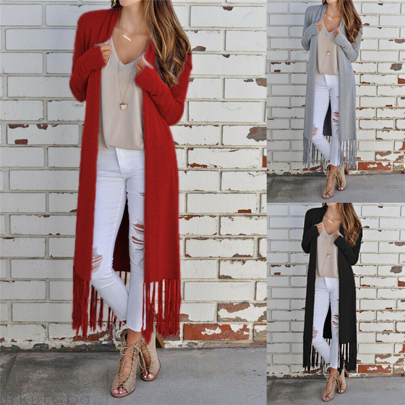 2019 Autumn New Large Size Women's Clothing Solid Color Long-Sleeve Tassels Irregular Sweaters Cardigan Coat Woman
