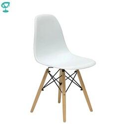 94894 Barneo N-12 пластиковый кухонный белый стул на деревянном основании интерьерный стул мебель для кухни стул столовый стул в гостиную стул кух...