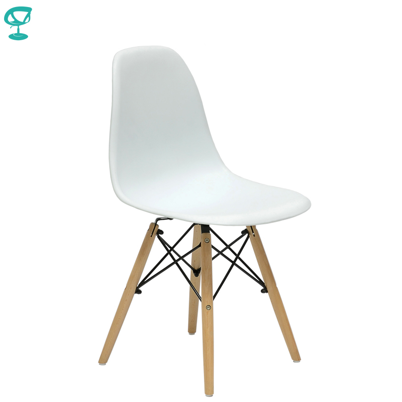 94894 Barneo N-12 Plastic Wood Kitchen Breakfast Interior Stool Bar Chair Kitchen Furniture White