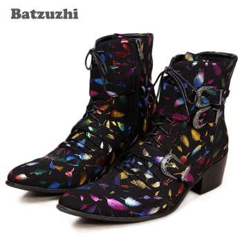 Batzuzhi Western Men Boots Mid-Calf Motorcycle Boots Men Stylist Pointed Iron Toe Punk Rock Party Boots Men Botas Hombre , 38-46