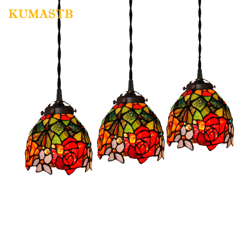 Stained Glass Rose Flowers Chandeilers Balcony Decoration Hanging Lamp Color Suspension Lighting Fixture In Pendant Lights From