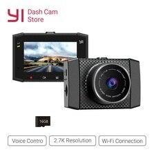 يي الترا داش كاميرا مسجل مع 16 جرام بطاقة 140 زاوية واسعة القرار جهاز تسجيل فيديو رقمي للسيارات داش كام التحكم الصوتي الاستشعار 2.7 بوصة عريضة