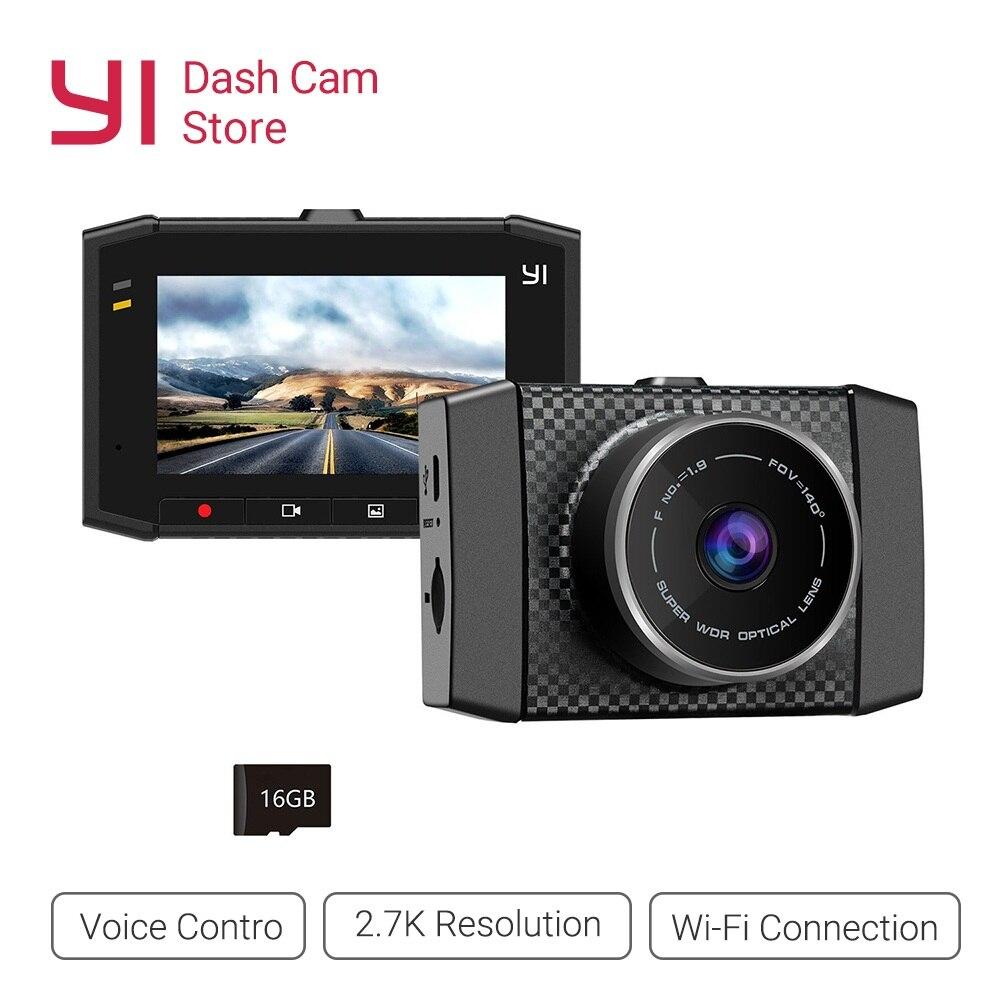 YI Ultra Traço Camera Recorder Com Cartão 16G 140 Resolução de Grande Angular Carro DVR Traço Cam sensor de Controle De Voz 2.7-polegada Widescreen