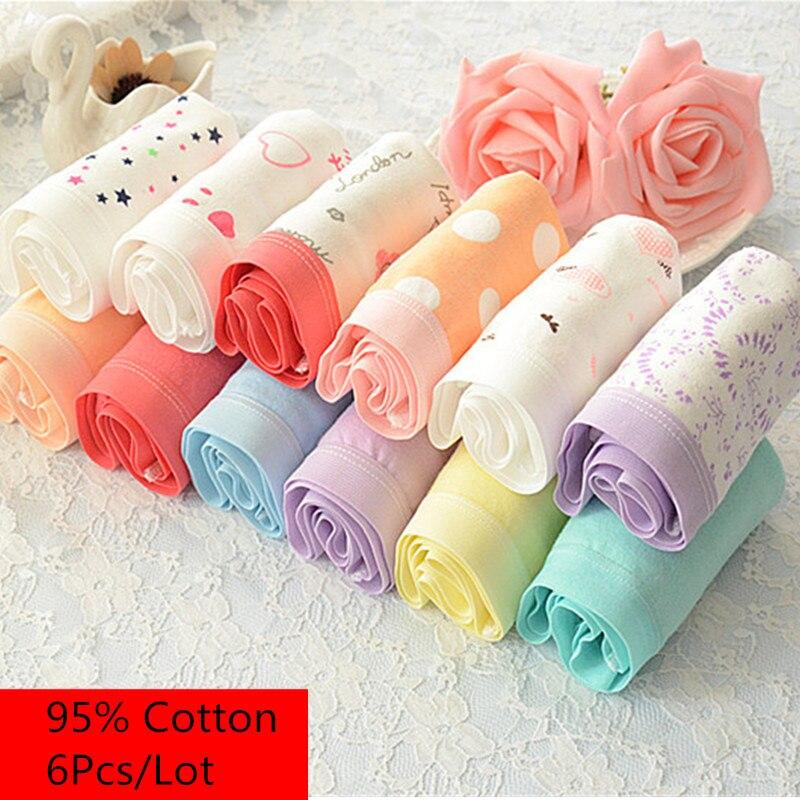 6PCS/lot Women   Panties   Sexy Cotton Underwear Cute Printed Intimate Plus Size Briefs Breathable pink Underpants lingerie 3XL