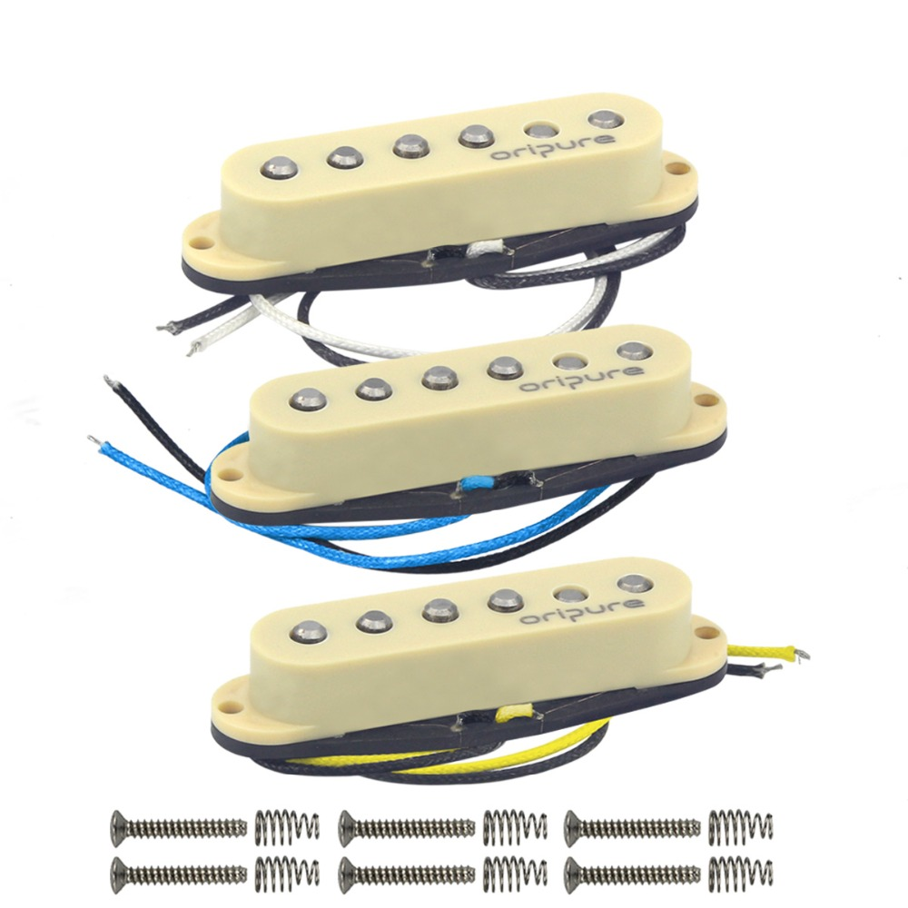 OriPure 3PCS Set Staggered Vintage Alnico 5 Guitar Single Coil Pickup Neck Middle Bridge Pickup Yellow