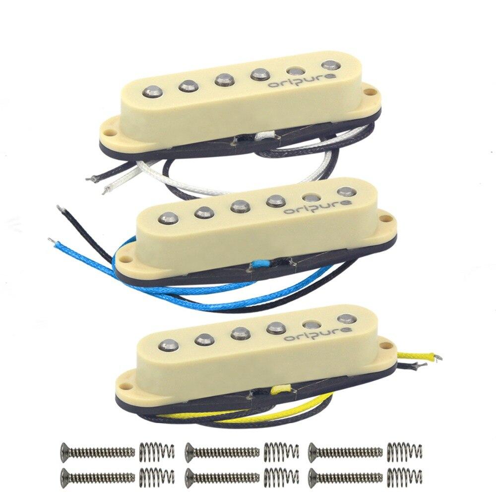 OriPure 3 pièces/ensemble décalé Vintage Alnico 5 guitare simple bobine pick-up cou/milieu/pont pick-up jaune pièces de guitare électrique
