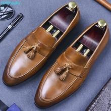 купить British Man Formal Dress Fashion Tassel Shoes Genuine Leather Handmade Loafers Round Toe Slip On Men's Office Shoes по цене 5050.27 рублей