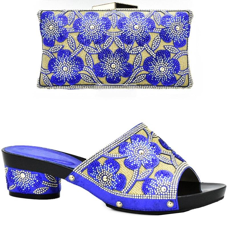 4d4dd485 Zapato Decorado Zapatos Sistemas Bolso Los amarillo azul teal Conjunto Del  Azul Partido Rhinestone Italianos verde Bolsa ...