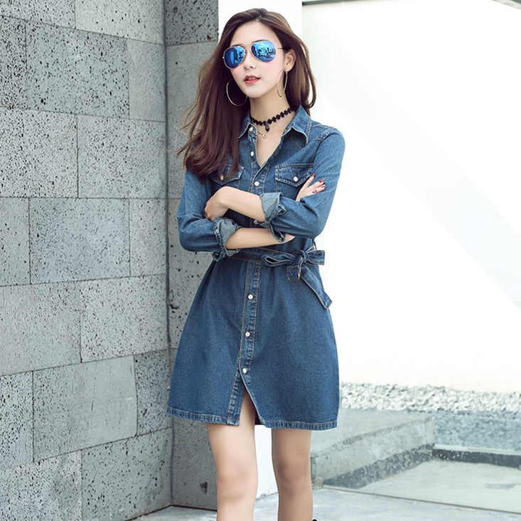 409eff92f03 Blue Jeans Dress Women 2018 Autumn Korean Style Vintage Bow Sash Turn Down  Collar Long Sleeve